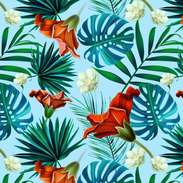 La Millou - Bambusowy Okrągły Otulacz Medium Blue Hawaiian Flowers