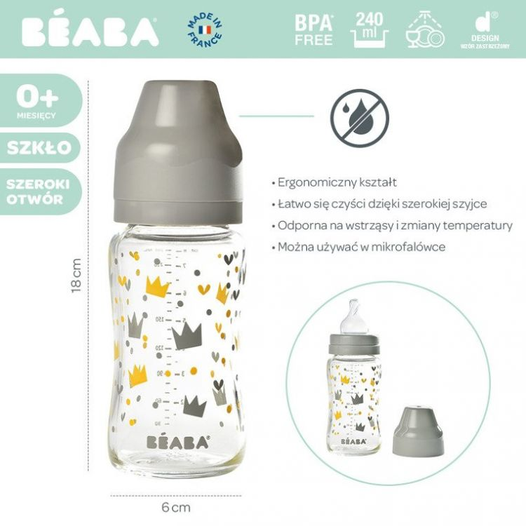 Beaba - Butelka Szklana Szerokootworowa 240 ml Yellow / Grey Crown