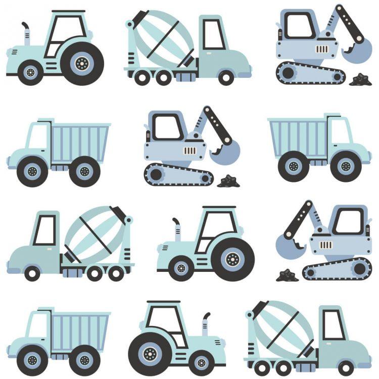 Pastelowelove - Naklejki na Ścianę Pojazdy Budowlane Niebieskie