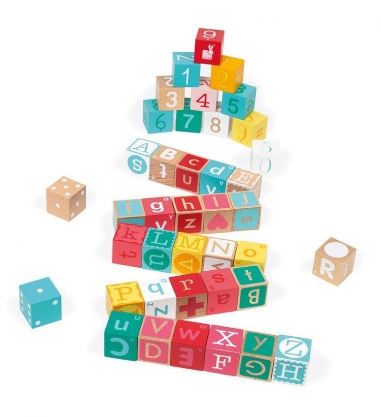 Janod - Drewniane Klocki z Puzzlami Kubix Litery i Cyfry 40 Elementów 2+