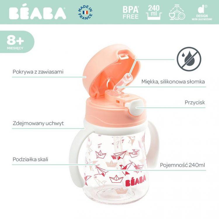 Beaba - Butelka Bidon Tritanowa ze Słomką 240 ml Light Pink