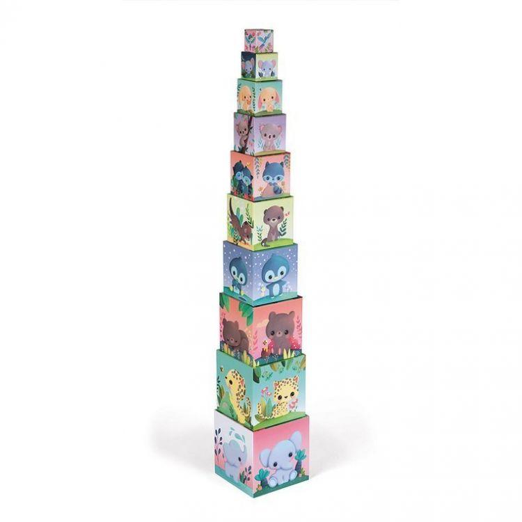 Janod - Piramida Wieża 10 Kostek Słodkie Zwierzaki 1+