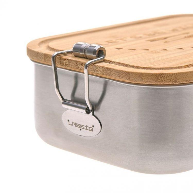 Lassig - Lunchbox ze Stali Nierdzewnej z Bambusową Pokrywką Adventure