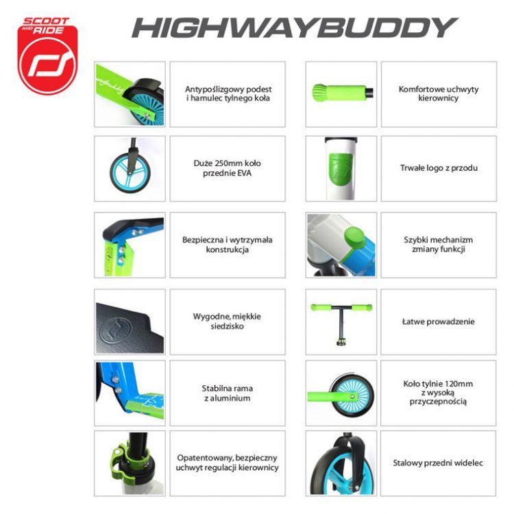 Scootandride - Highwaybuddy 2w1 Hulajnoga i Rowerek Blue