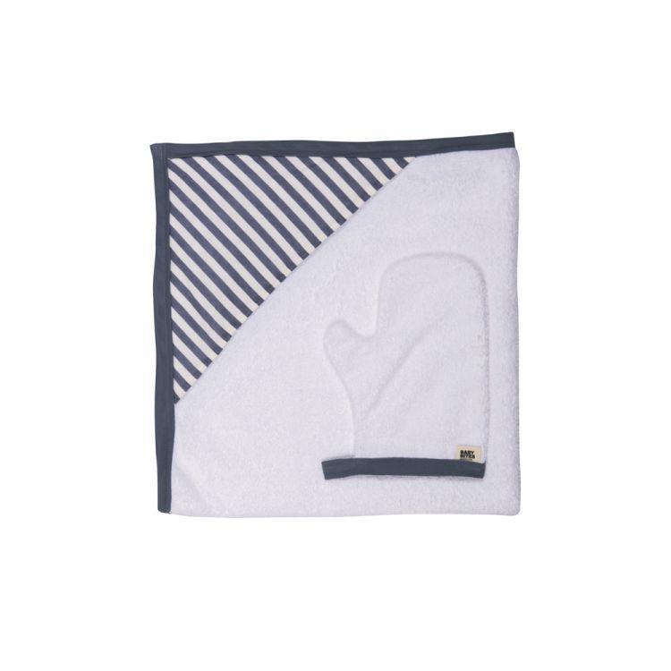 Baby Bites - Ręcznik z Kapturkiem 75 x 75 cm + Myjka Sailor Blue