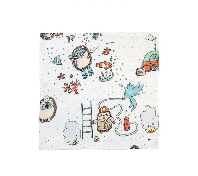 Lullalove - Muślinowa Pieluszka/Myjka Jeże Zawody
