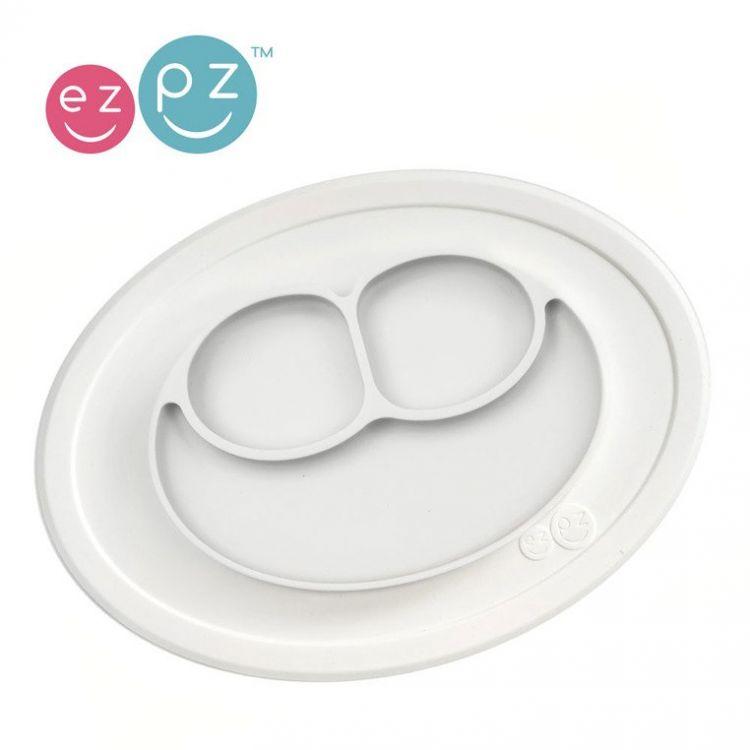 EZPZ - Silikonowy Talerzyk z Podkładką Mały 2w1 Mini Mat Biały