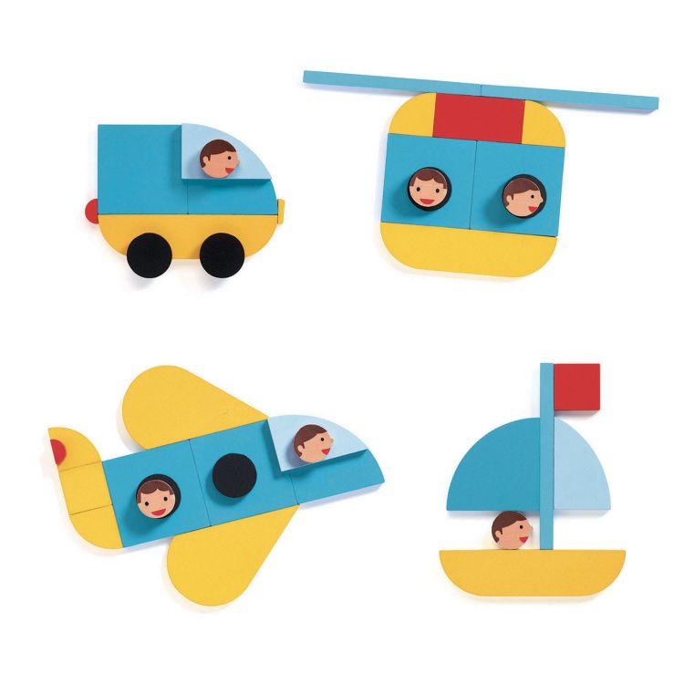 Djeco - Drewniana Układanka Kształty Pojazdy 3+