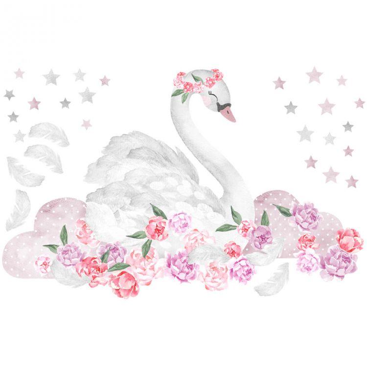 Pastelowelove - Naklejka na Ścianę Łabędź Różowy
