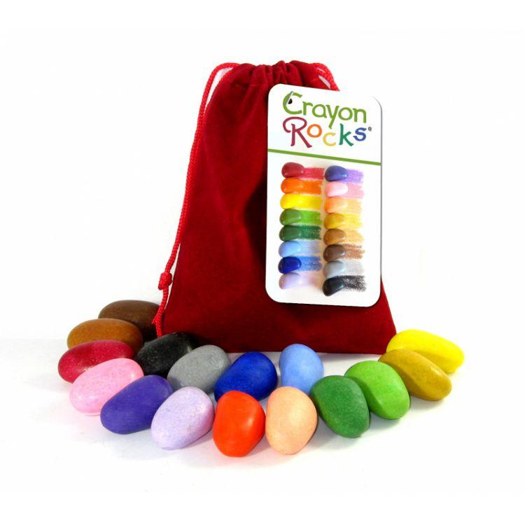 Crayon Rocks - Kredki 16  Kolorów w Aksamitnym Czerwonym Woreczku