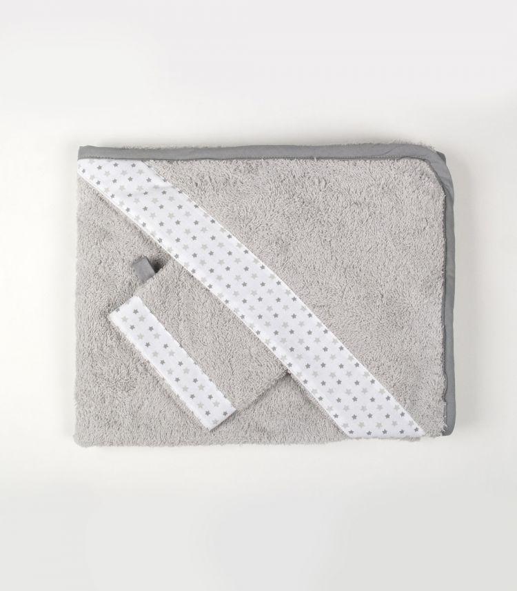 Muzpony - Okrycie Kąpielowe z Myjką 80x80 Milky Grey