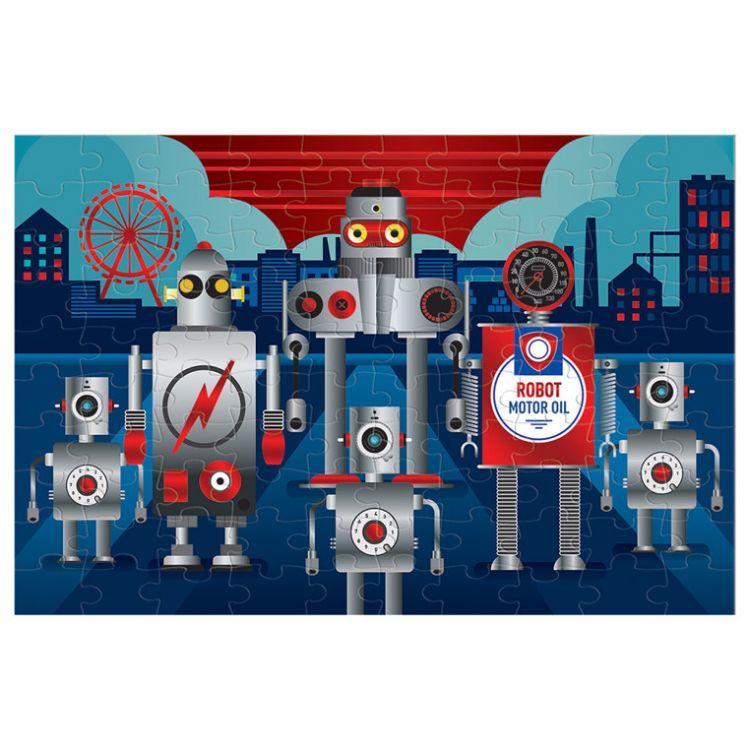 Mudpuppy - Puzzle z Błyszczącą Folią Roboty 100 Elementów