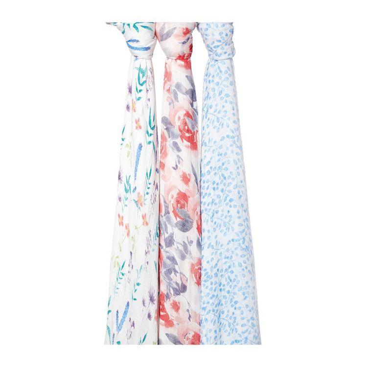 aden + anais -  Otulacz Bambusowy Watercolour Garden 3szt 120x120cm