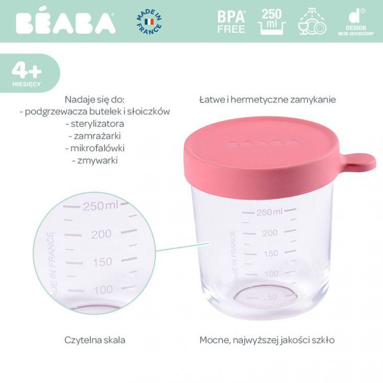 Beaba - Pojemnik Słoiczek Szklany z Hermetycznym Zamknięciem 250 ml Dark Pink