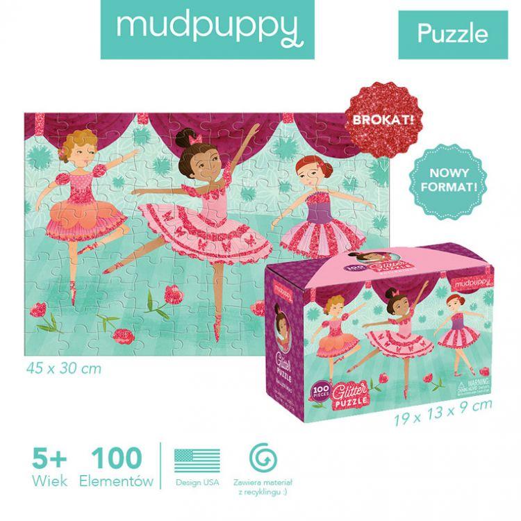 Mudpuppy - Puzzle z Brokatem Baletnice 100 Elementów