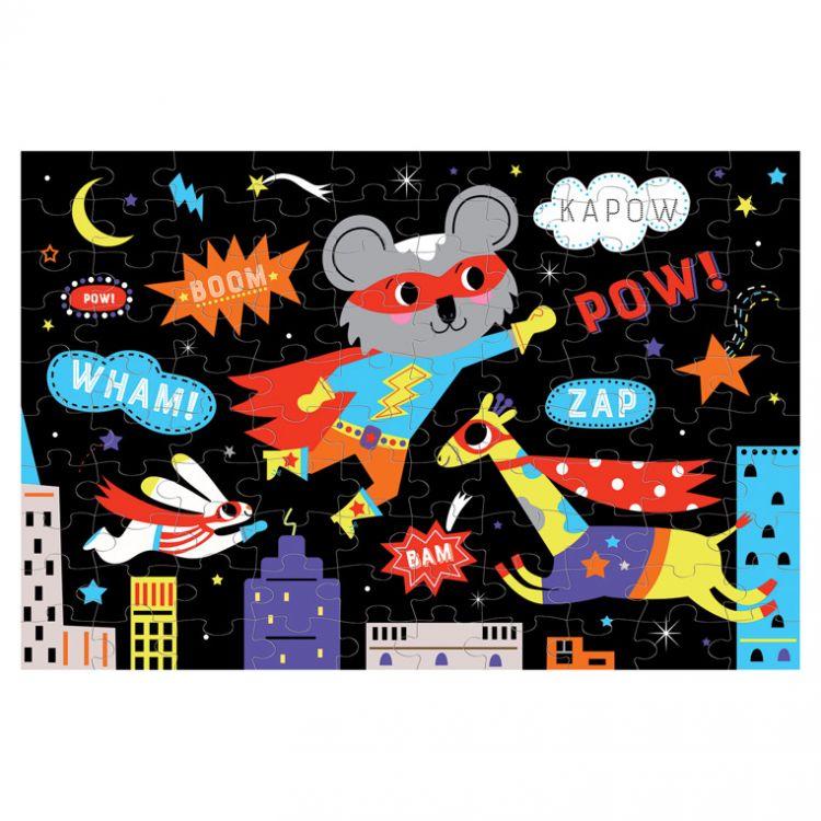 Mudpuppy - Puzzle Świecące w Ciemności Superbohaterowie 100 Elementów