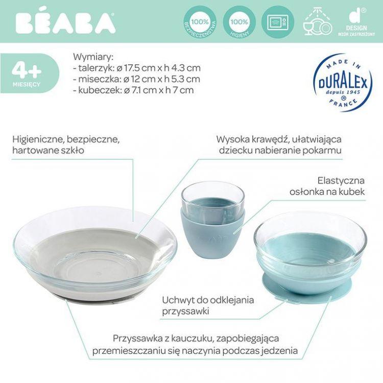Beaba - Komplet Naczyń z Hartowanego Szkła Duralex® z Podstawkami z Kauczuku Jungle