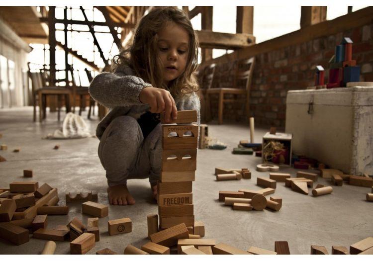 Wooden Story - Klocki Naturalne w Worku XL 50 szt.