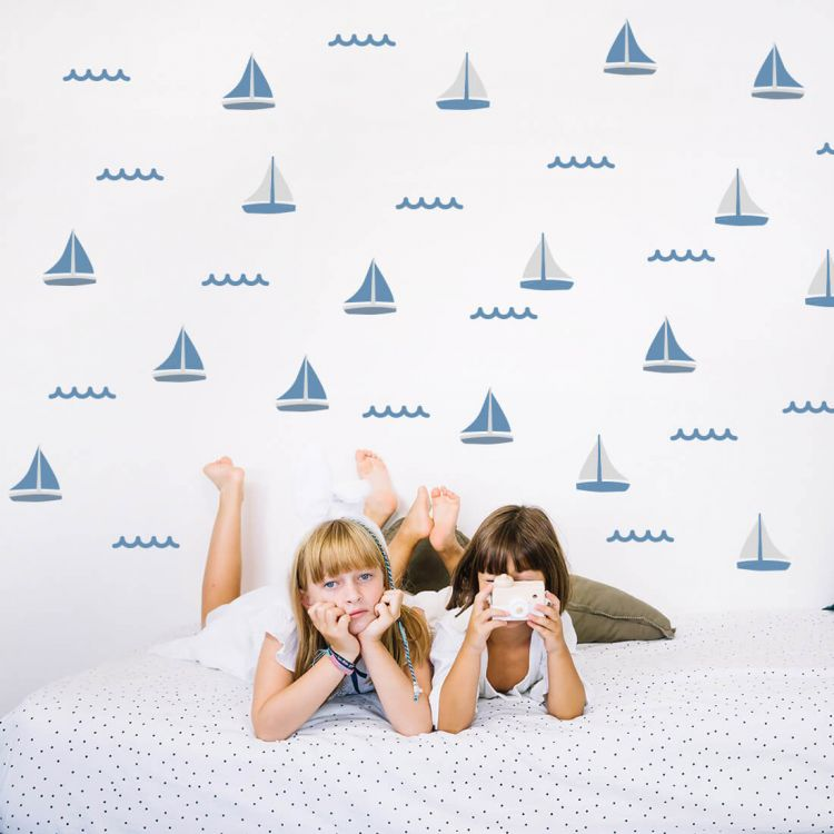 Pastelowelove - Naklejki na Ścianę Żaglówki Niebieskie