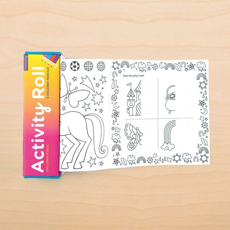 Mudpuppy - Łamigłówki Kolorowanki w Rolce 1,8 m z 5 Kredkami Magiczne Jednorożce