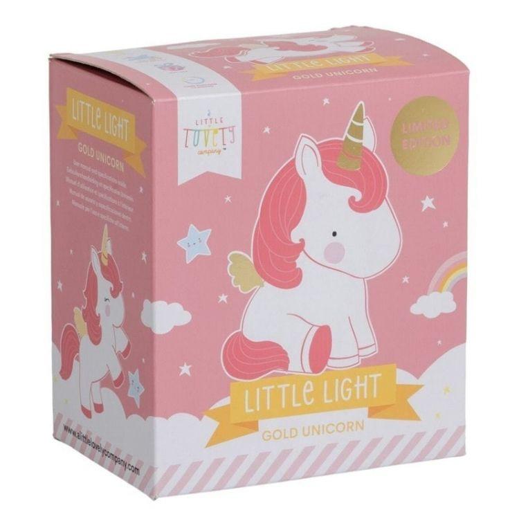 Little Lovely Company - Mała Lampka Złoty Jednorożec Wersja Limitowana