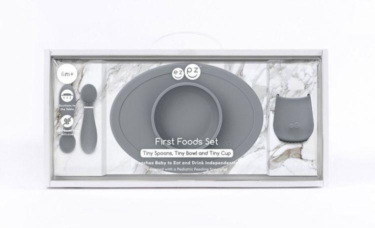 EZPZ - Komplet Pierwszych Naczyń Silikonowych First Foods Set Szary