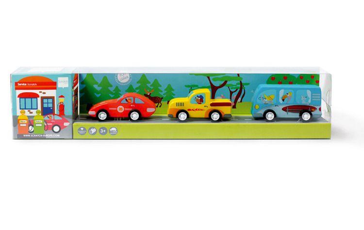 Scratch - 3 Drewniane Samochody Pull
