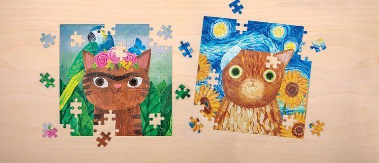 Mudpuppy - Puzzle w puszce Kotoartyści Frida Catlo 100 elementów 6+