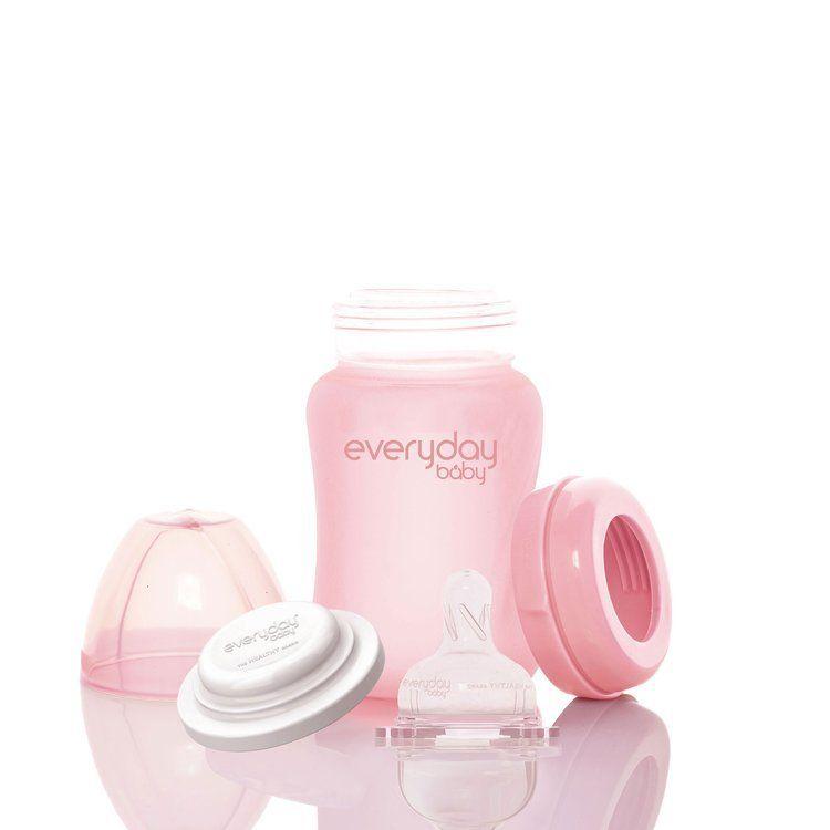 Everyday Baby - Szklana Butelka ze Smoczkiem S 150 ml Różowa