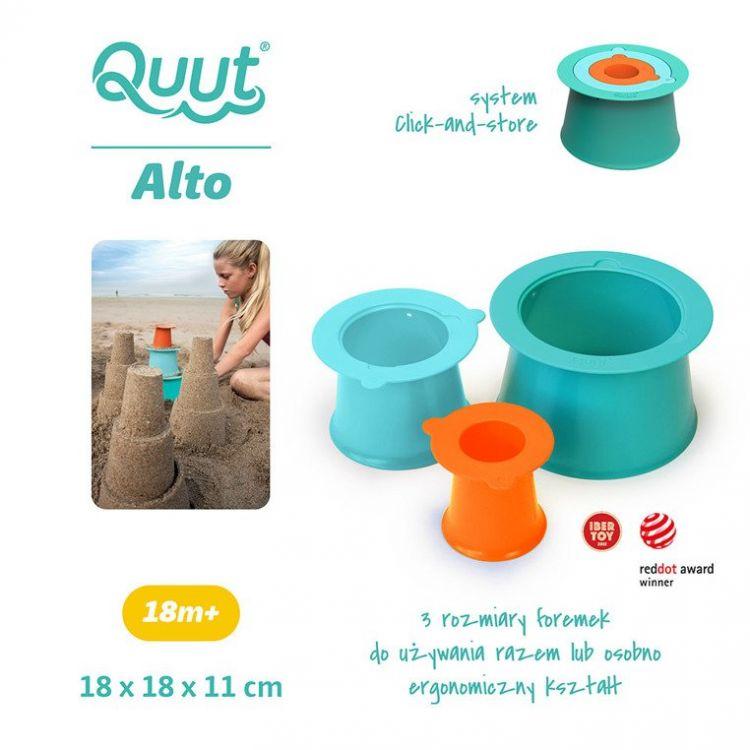 Quut - Zestaw 3 foremek do piasku Wieża Alto Lagoon Green + Vintage Blue + Mighty Orane 18m+