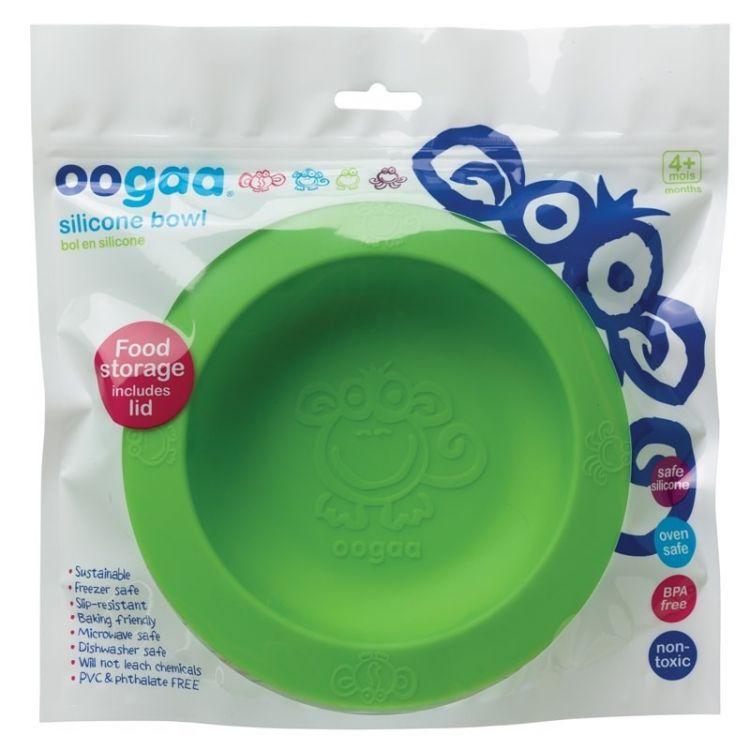 Oogaa - Silikonowa Miseczka z Pokrywką Green Bowl & Lid