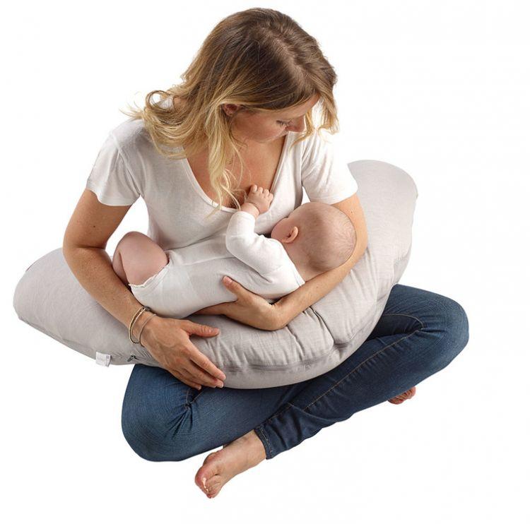 Red Castle - Ergonomiczna Poduszka Rogal dla Kobiet w Ciąży i Karmiących Big Flopsy Fleur de Coton Pearl Grey
