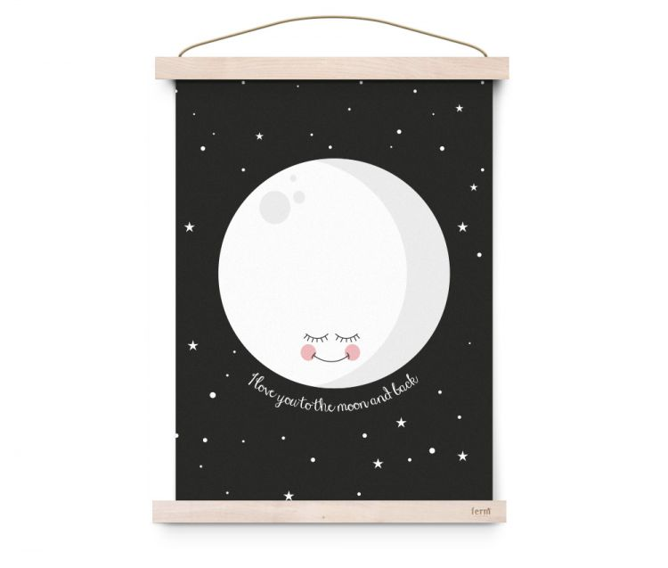 Eef Lillemor - Plakat I Love You To The Moon And Back – Black