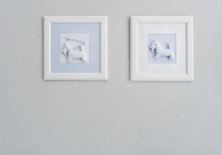Caramella - Obrazek Błękitny z Motywem Błękitnego Pieska z Chustką