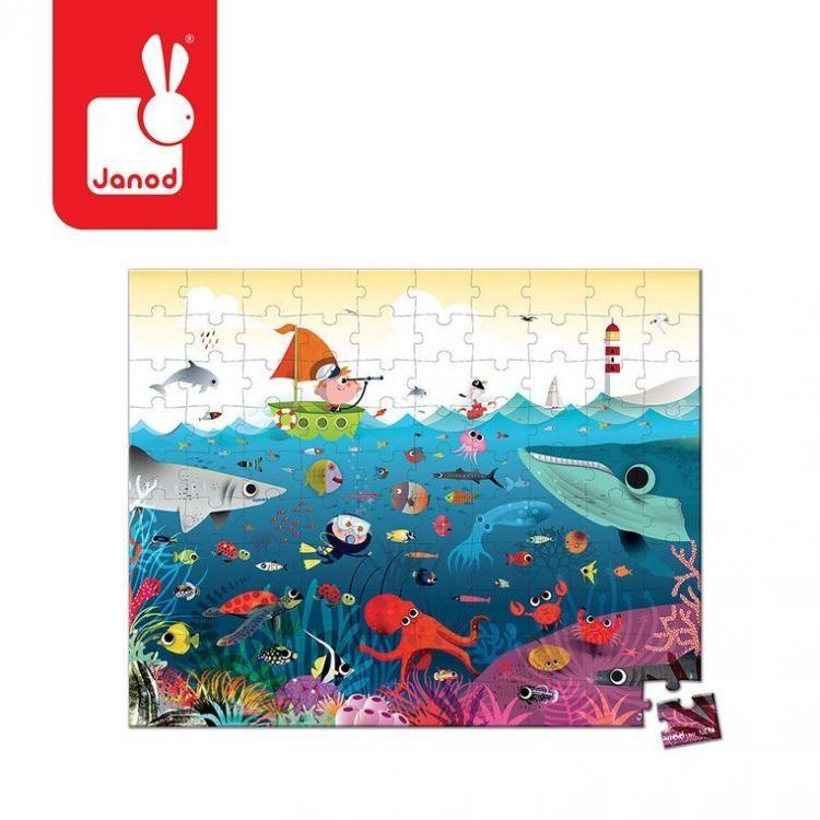 Janod - Puzzle w Walizce Podwodny Świat 100 Elementów 6+