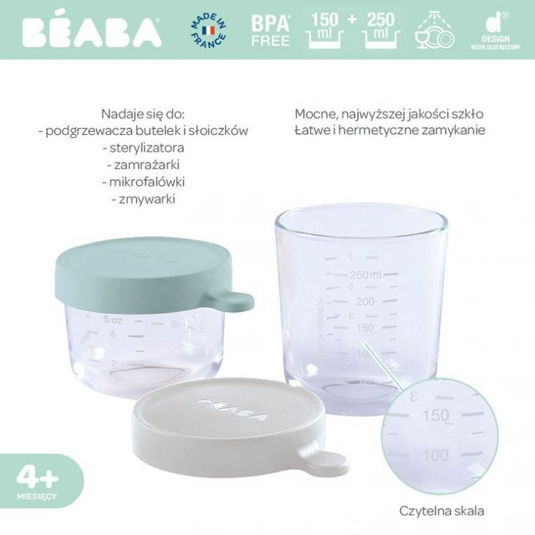 Beaba - Zestaw pojemników słoiczków szklanych z hermetycznym zamknięciemAiry Green i Light Mist 150ml+250ml