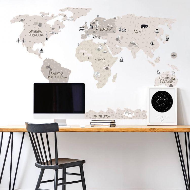 Pastelowelove - Naklejka na Ścianę Mapa Świata Beżowa S