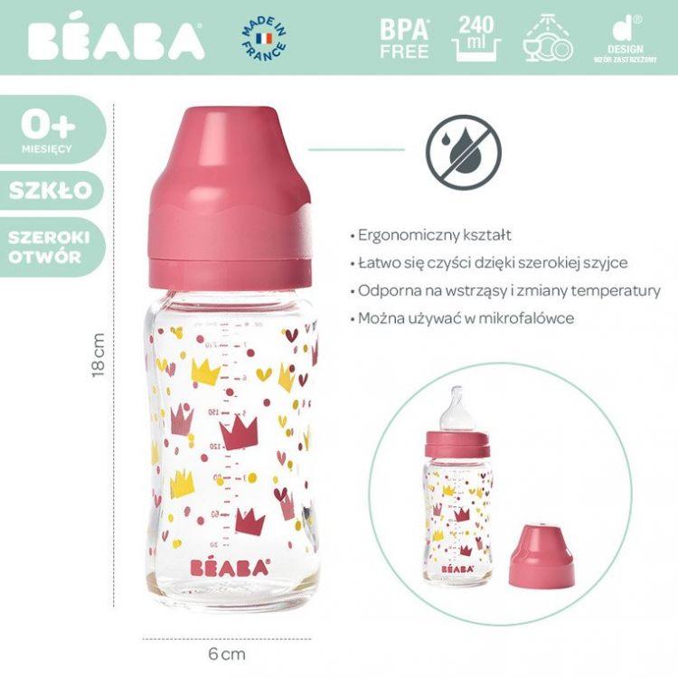 Beaba - Butelka Szklana Szerokootworowa Yellow / Pink Crown 240ml