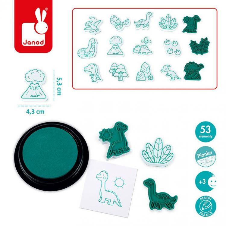 Janod - Zestaw Kreatywny Stempelki Dinozaury 3+