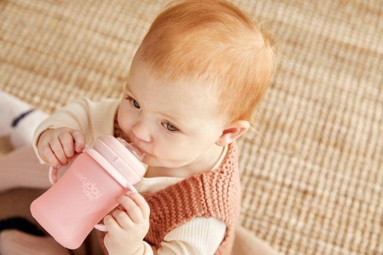 Everyday Baby - Szklana Butelka z Ustnikiem Niekapkiem i Rączkami 150 ml Różowa