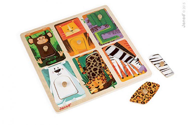 Janod - Puzzle Sensoryczne Drewniane Zwierzątka w ZOO