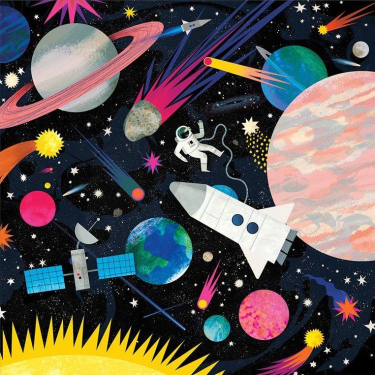 Mudpuppy - Puzzle Rodzinne Świecące w Ciemności Kosmos 500 Elementów 8+