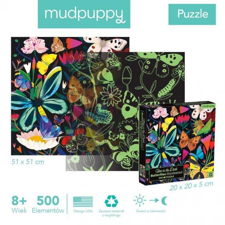 Mudpuppy - Puzzle Świecące w Ciemności Motyle 500 elementów 8+
