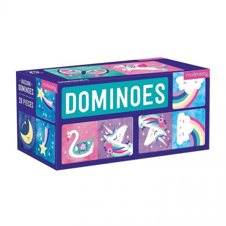 Mudpuppy - Gra Domino Magiczne Jednorożce 28 elementów 3-8 lat