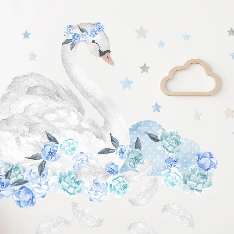 Pastelowelove - Naklejka na Ścianę Łabędź Niebieski