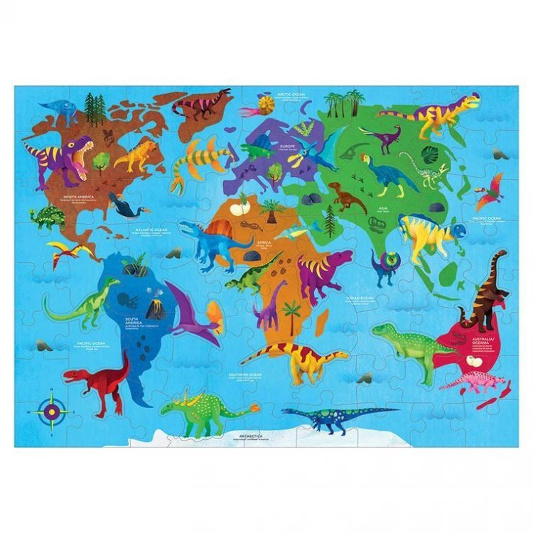 Mudpuppy - Puzzle Świat Dinozaurów z Elementami w Kształcie Dinozaurów 80 elementów 5+