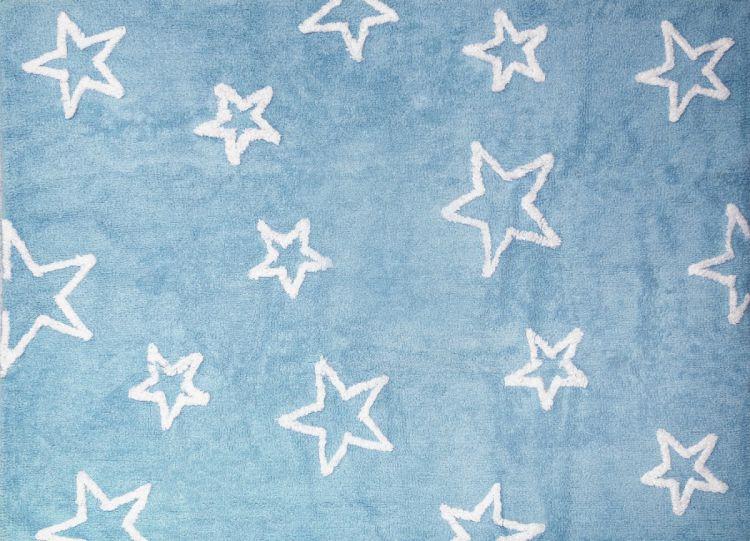 Aratextil - Dywan Bawełniany do Prania w Pralce Błękitny z Gwiazdkami 120x160cm