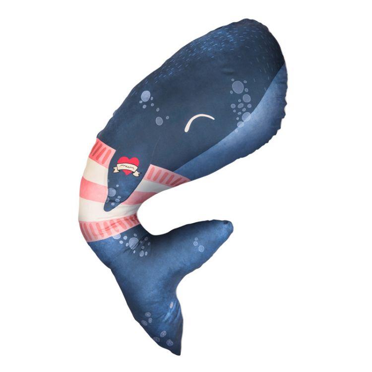 Baby Bites - Poduszka do Karmienia Whale 100 x 55 cm Navy Blue