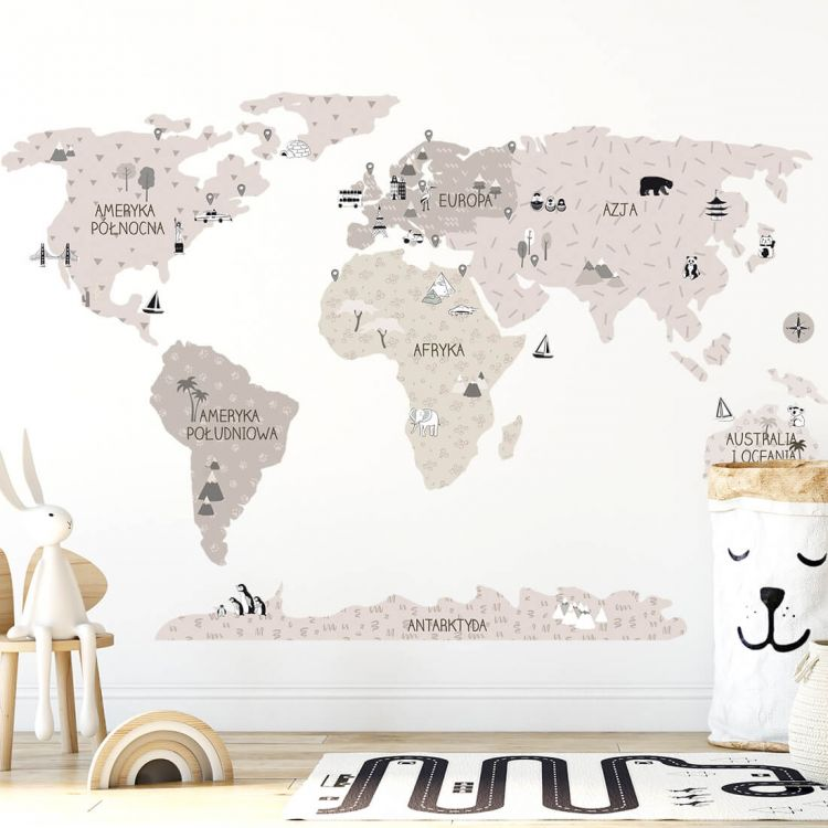 Pastelowelove - Naklejka na Ścianę Mapa Świata Beżowa L