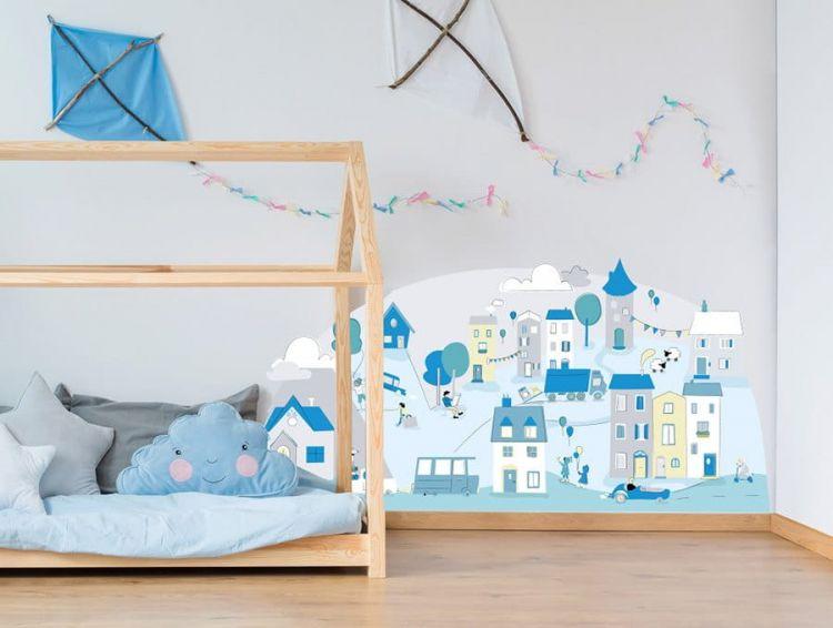 Pastelowelove - Naklejka na Ścianę Miasteczko Miętowe S 148x72 cm